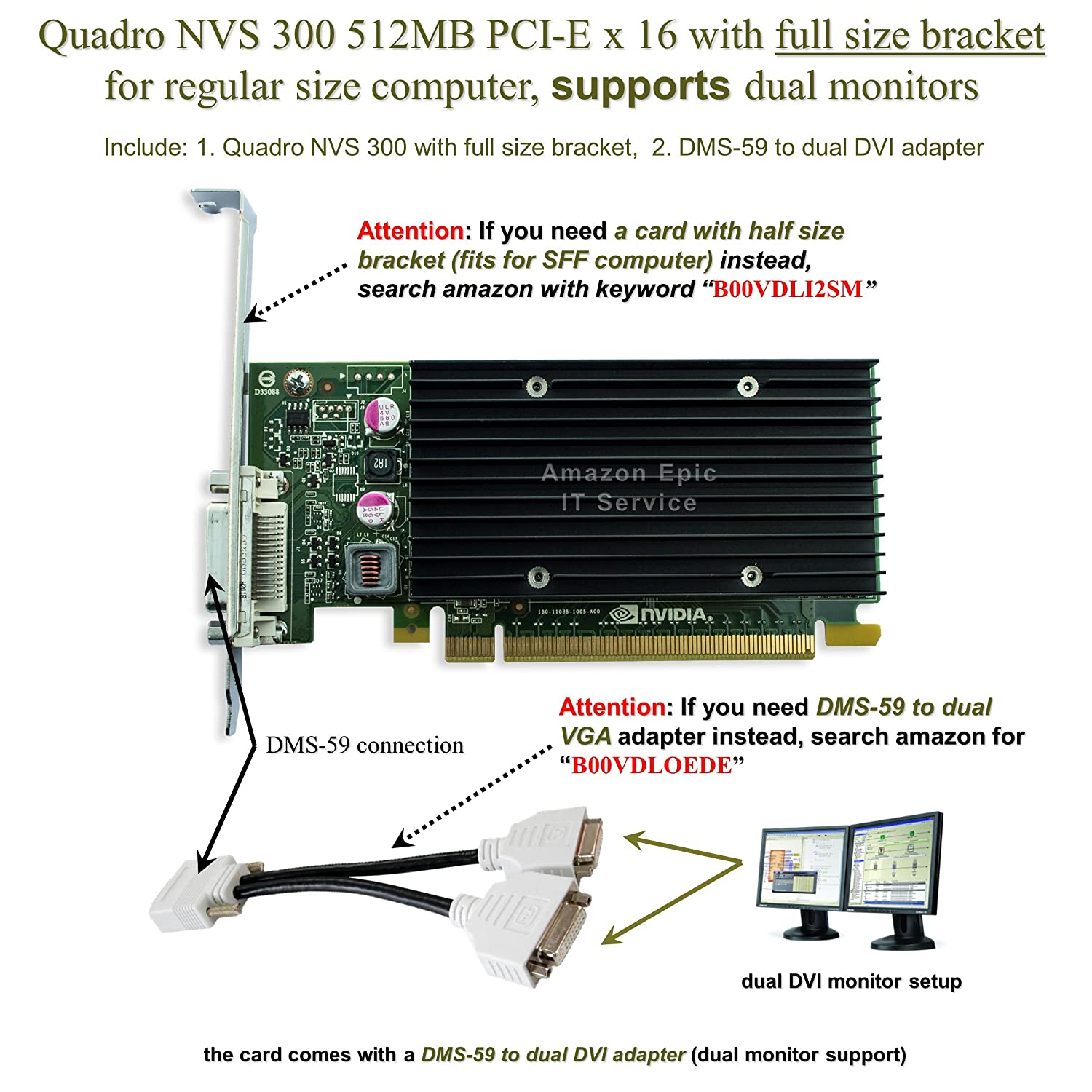 Epic It Service Quadro Nvs 300 Pci E X 16 Full Size Express Wiring Diagram Bracket Dms 59 To Dual Dvi Adapter Computers Accessories
