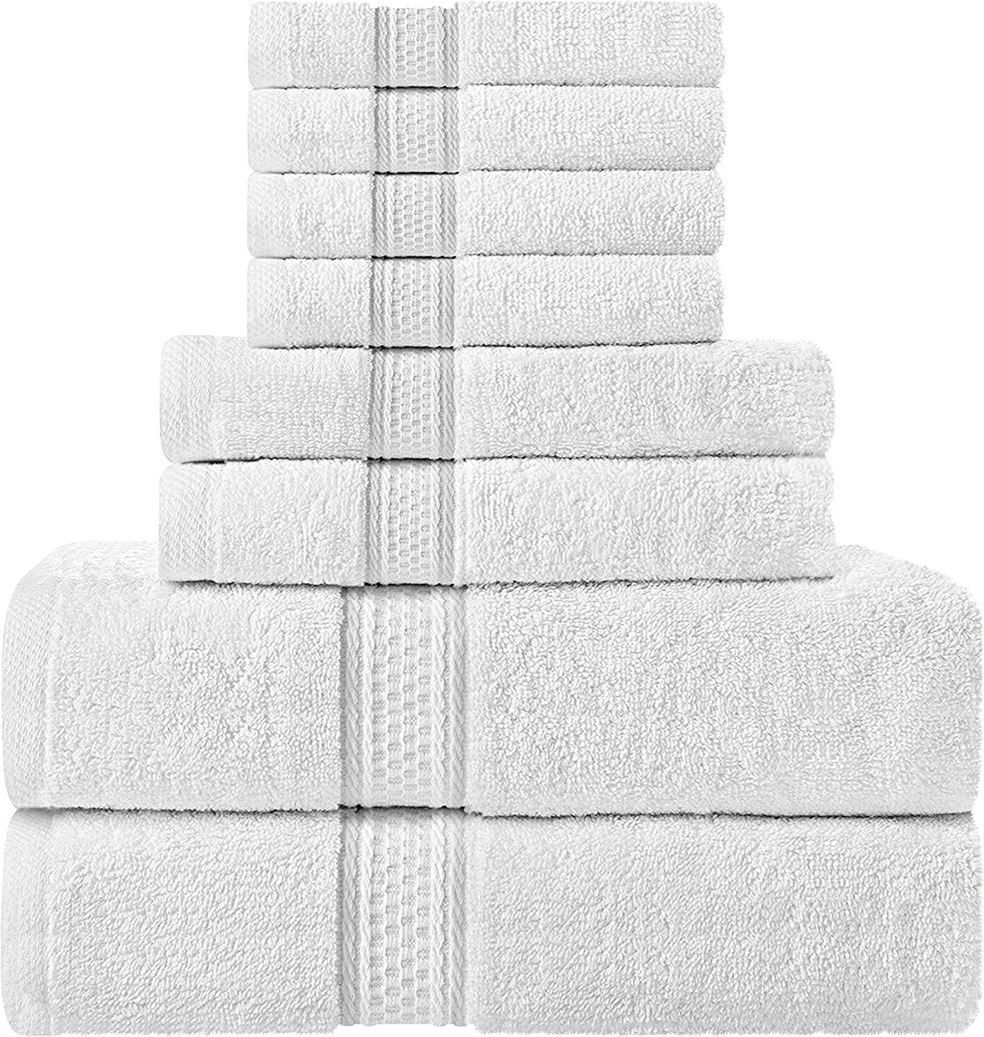 Utopia Towels Towel Set, 2 Bath Towels, 2 Hand Towels, and 4 Washcloths, 600 GSM 100% Premium Ring Spun Cotton Highly Absorbent Towels for Bathroom, Shower Towel, (Pack of 8): Home & Kitchen