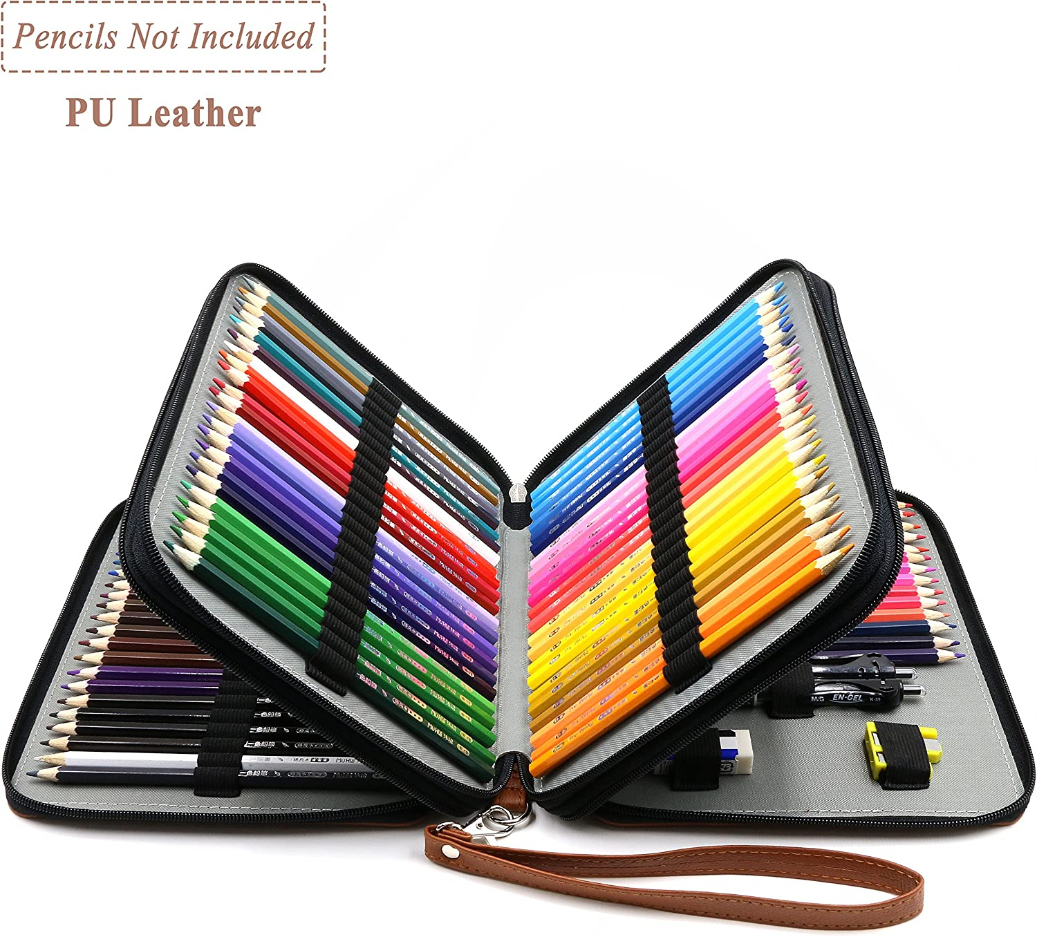 Brown Crayola Colored Pencils YOUSHARES 120 Slots Pencil Case Marco Pens and Makeup Brush PU Leather Handy Multi-Layer Large Zipper Pen Bag with Handle Strap for Prismacolor Watercolor Pencils
