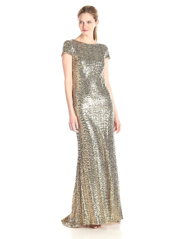 Amazon.com: Badgley Mischka Women\'s Cowl Back Sequin Classic Gown ...