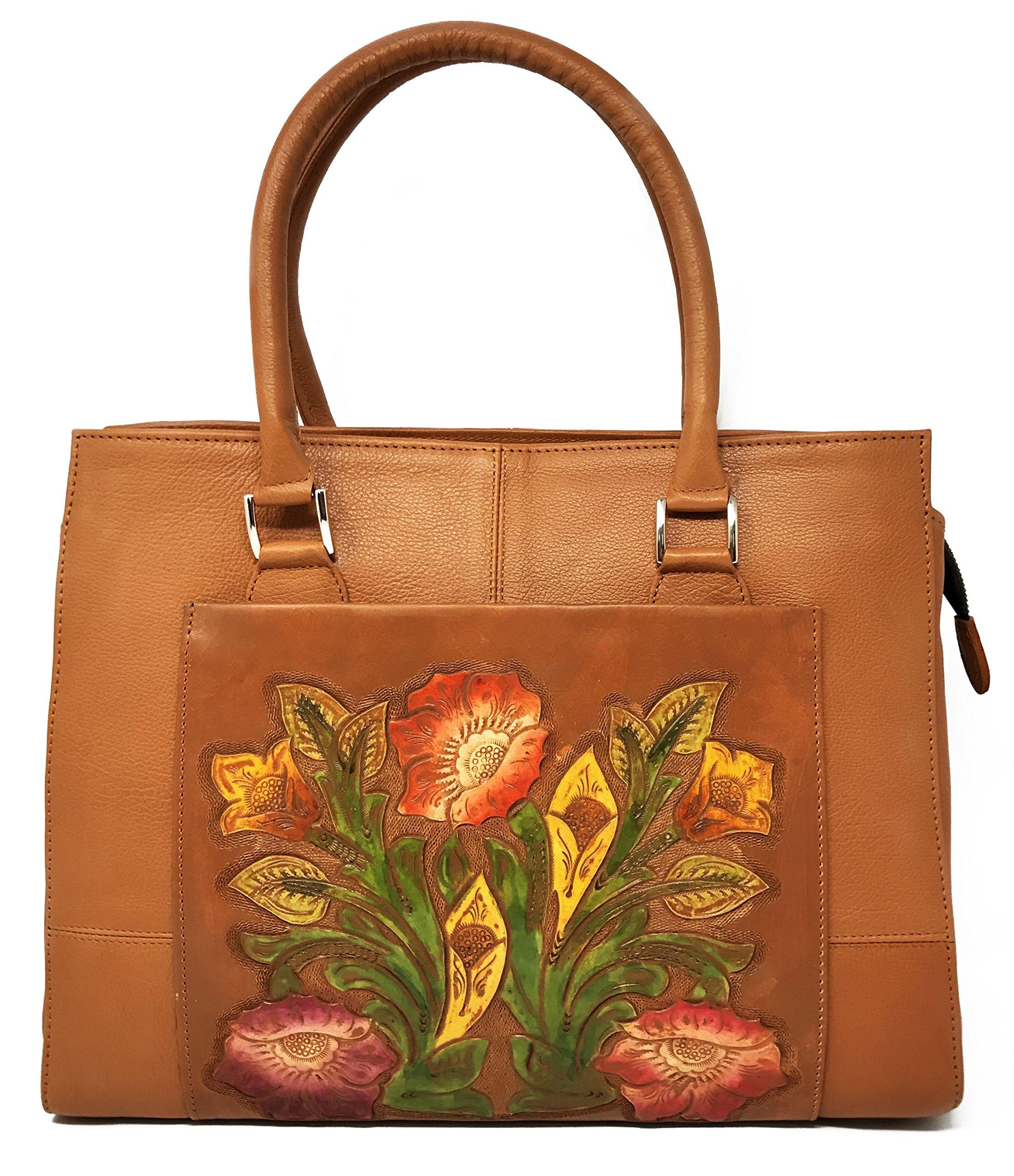 Adelaide Vintage Floral Artisan Leather Handmade Top Handle Cross Body Handbag Designer Gift for Women (Maple)