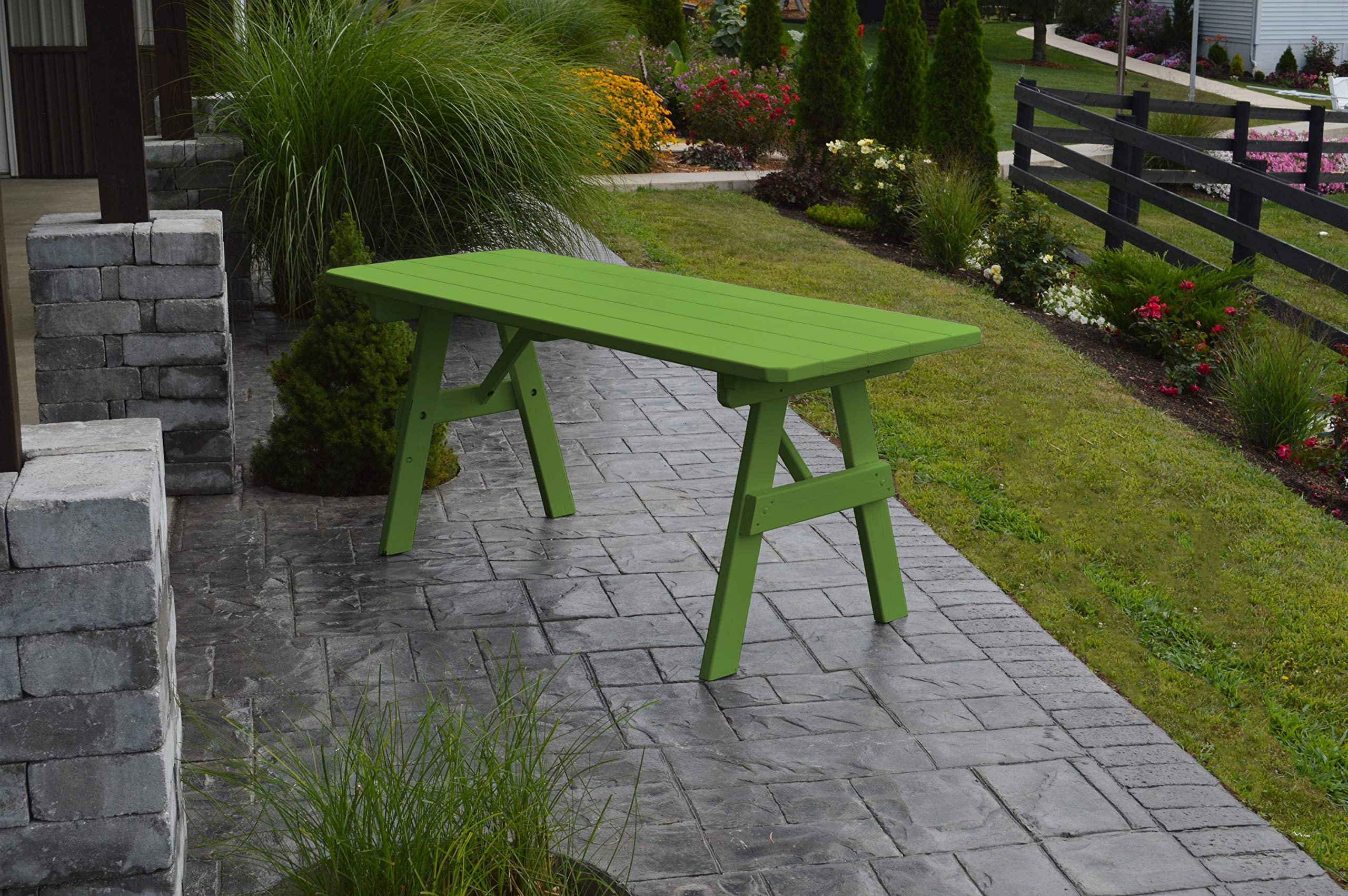 A & L Furniture Yellow Pine Traditional Picnic Table (No Hole), 8', Lime by A&L Furniture Co. (Image #1)