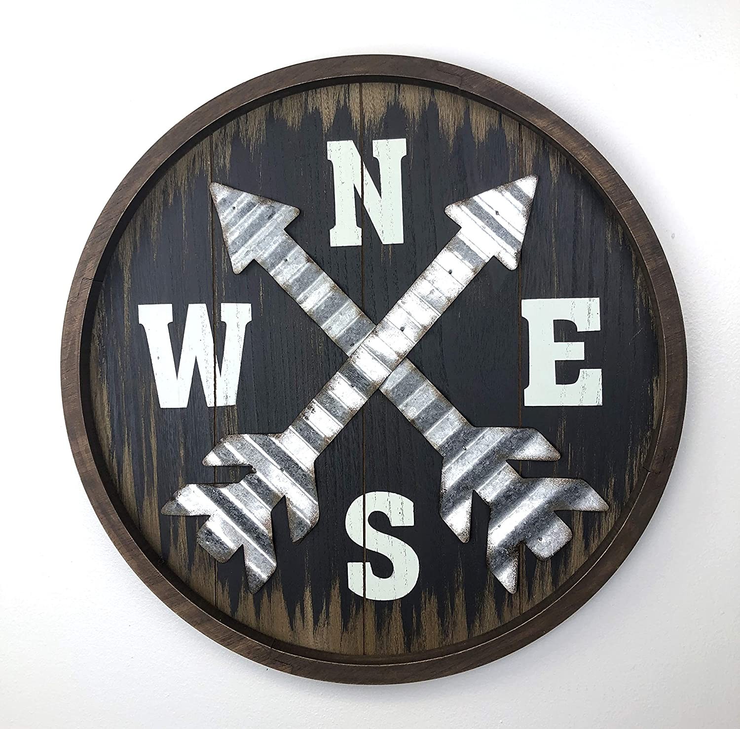 Parisloft Distressed Wood Compass Wall Signs,Wooden Round Compass(N,S,E,W) Wall Plaque 18 Inch