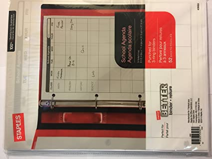 Amazon.com : Staples School Agenda 8.5x11 52 sheets : Office ...