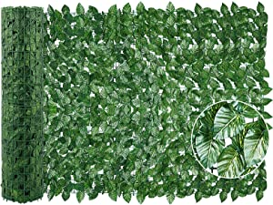 Tikola Artificial Ivy Privacy Fence Screen, 98.4'' x 39.4'' Decorative Fences with 25 Nylon Cable, Faux Ivy Vine Leaf Hedges Fence for Outdoor Decor, Garden, Gardener