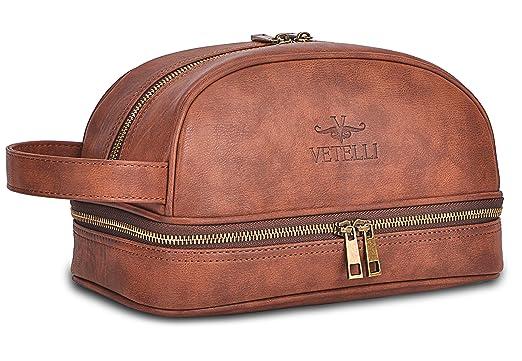 Vetelli Leather Toiletry Bag For Men  Dopp Kit  featuring Travel Bottles. Amazon com  Vetelli Leather Toiletry Bag For Men  Dopp Kit
