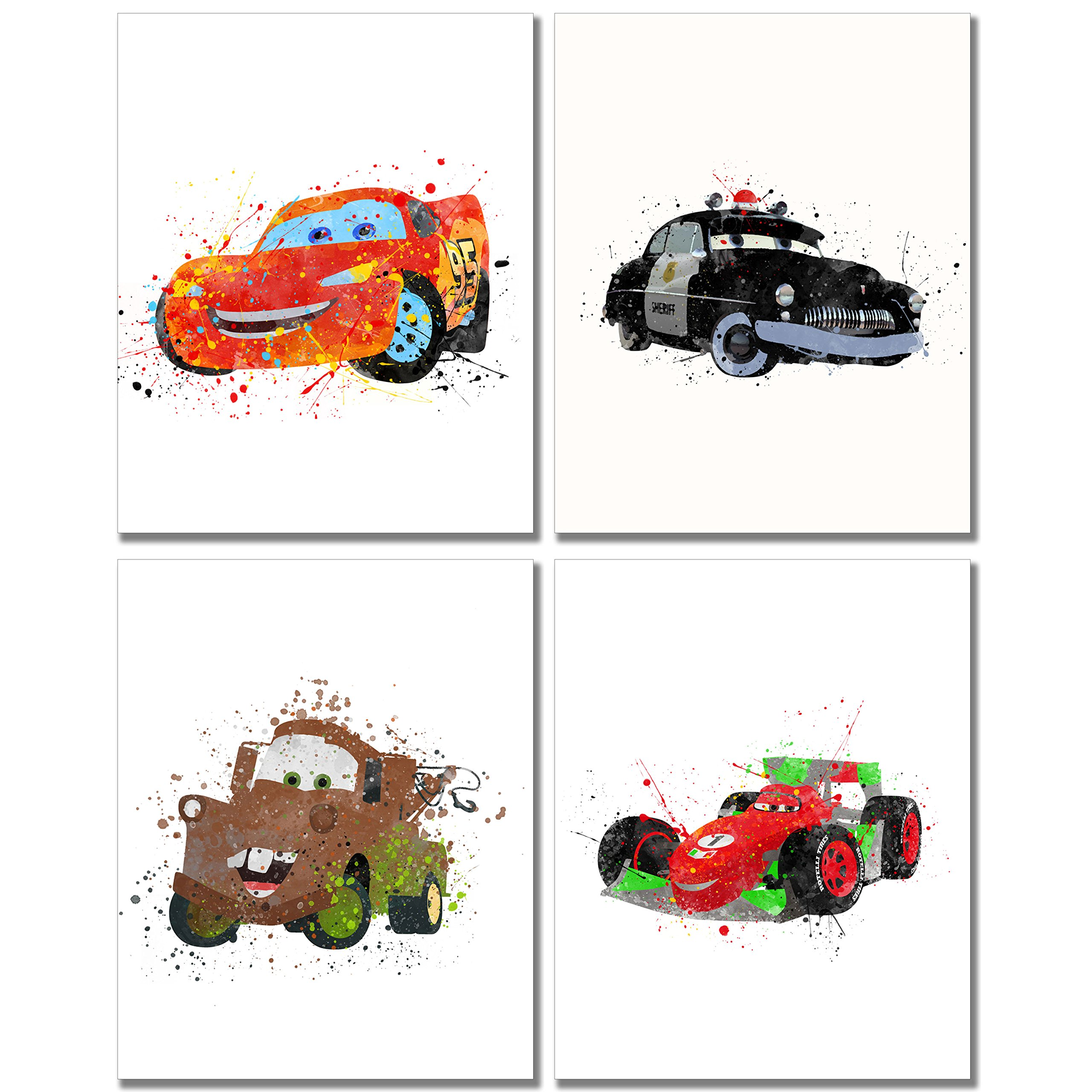 Cars Watercolor Prints - Set of 4 (8 inches x 10 inches) Wall Art Decor Kids Bedroom Photos Lightning McQueen Tow Mater Francesco Bernoulli Sheriff by BigWig Prints