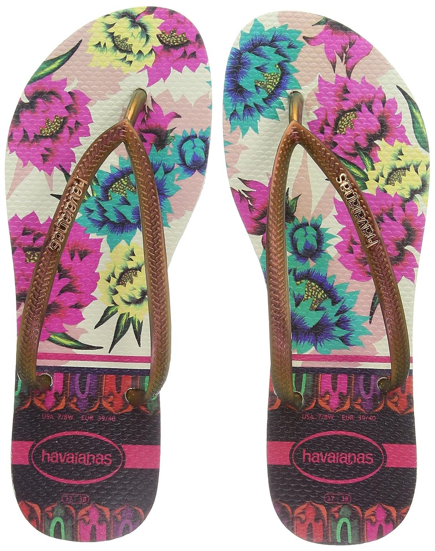 Havaianas Damen Damen Havaianas Slim Tropical Zehentrenner Beige 149687