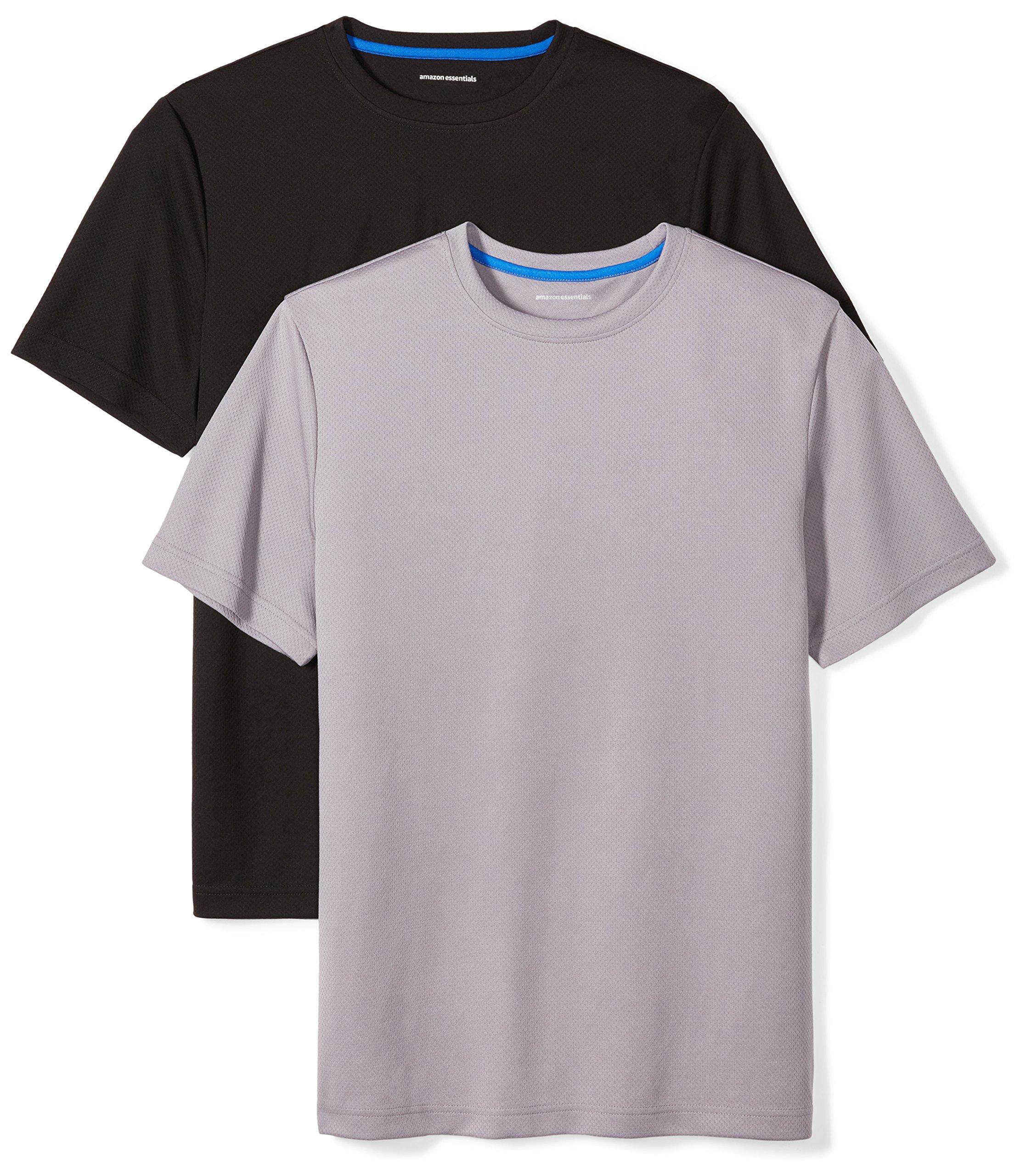 Amazon Essentials Men's 2-Pack Performance Short-Sleeve T-Shirts, Black/Medium Grey, Large