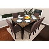 7 PC Thick Marble Espresso Linen Brown 6 Person Table and Chairs Brown Dining Dinette - 150255 Brown Parson Chair