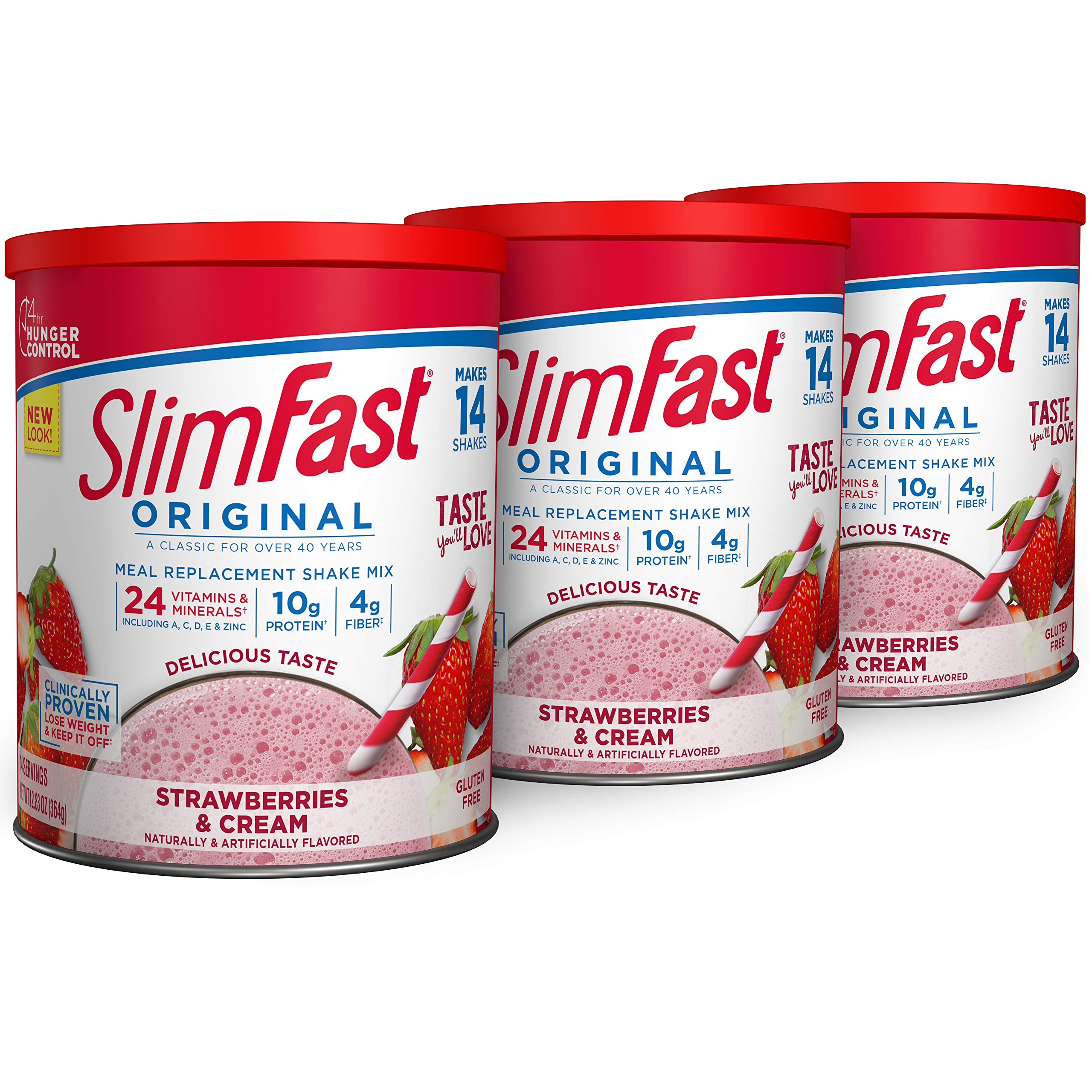 SlimFast Original Strawberries & Cream Meal Replacement Shake Mix – Weight Loss Powder – 12.83 oz. – 14 servings - Pack of 3