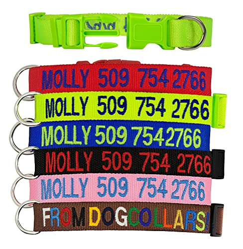 Custom Dog Collar,Personalised Collar & Embroidered Custom Collar with Pet Name & Phone Number,6 Collar Colors-Red,Blue,Green,Pink,Black,Brown;2 Adjustable Sizes for Small,Medium and Large Dog