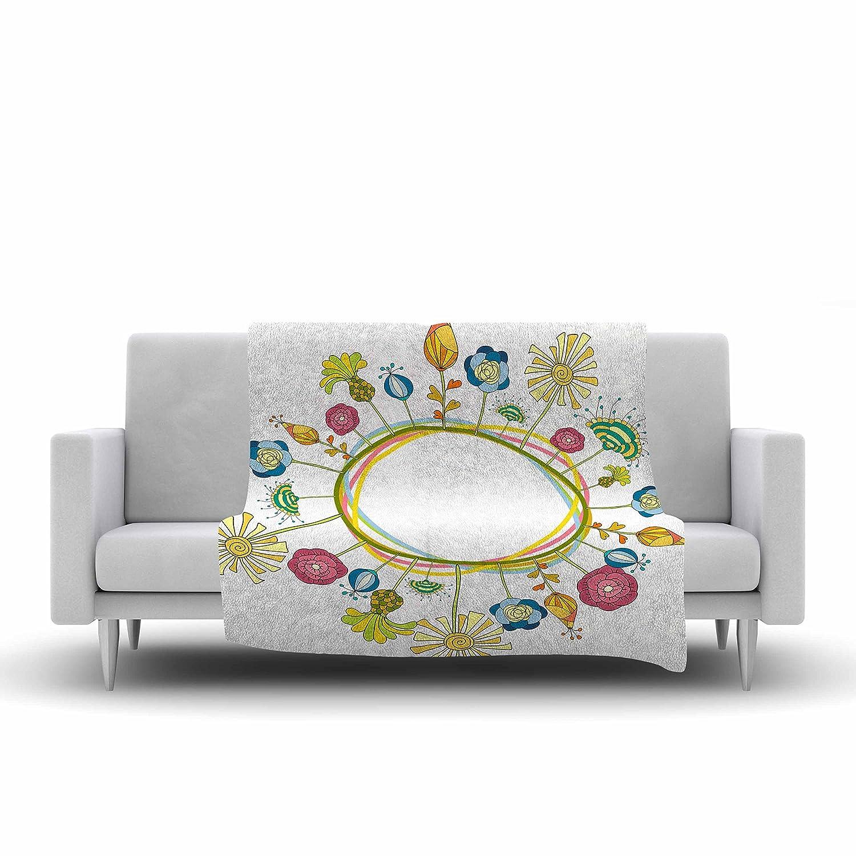 60 X 50 Kess InHouse Alisa Drukman Flo Green Floral Fleece Throw Blanket 60 by 50-Inch