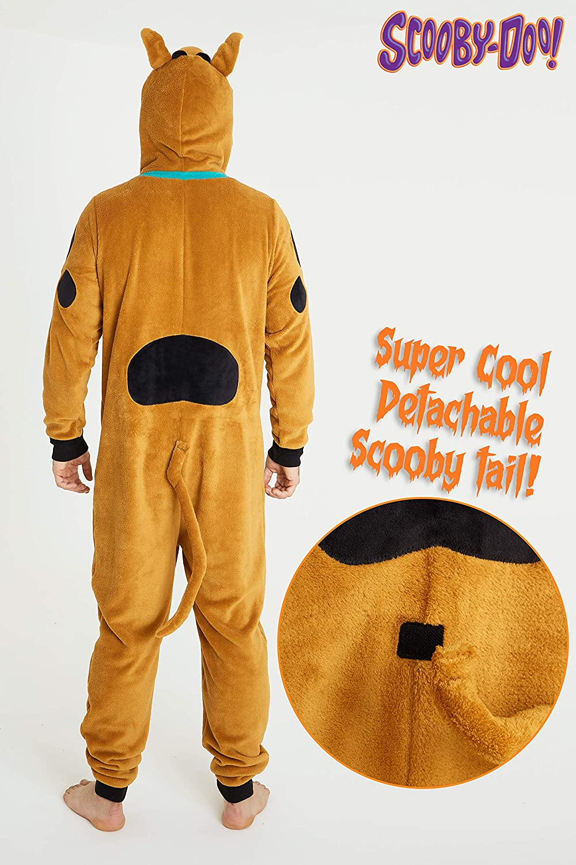 S-2XL Scooby Doo Men Onesie Adult Fluffy Onesies Mens Fleece Hooded Pyjamas
