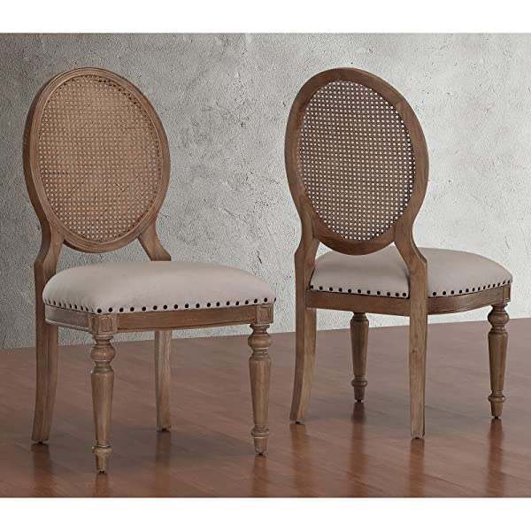 Metro Shop Elements Weathered Oak Cane Back Dining Chairs (Set of 2)