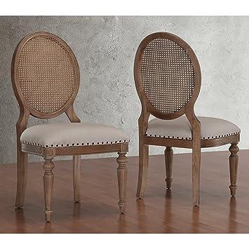 Metro Shop Elements Weathered Oak Cane Back Dining Chairs Set Of 2