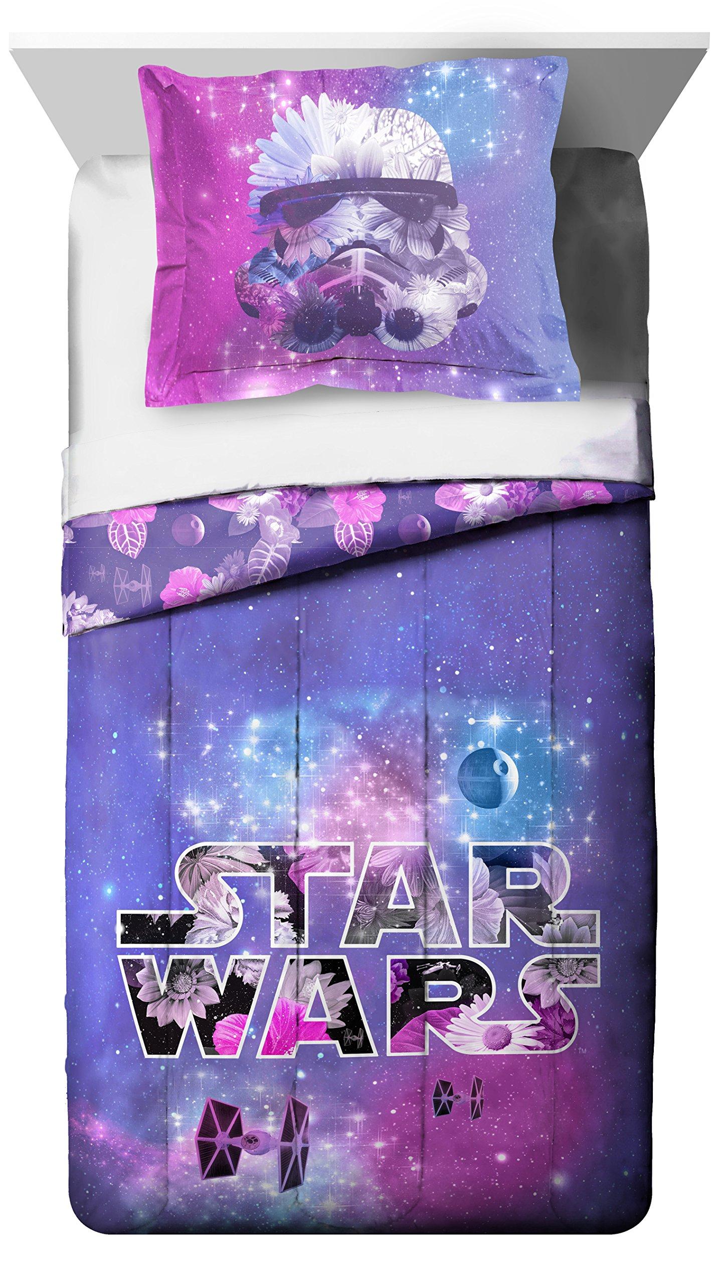 Star Wars Galaxy in Bloom Reversible Comforter & Sham, Full/Queen