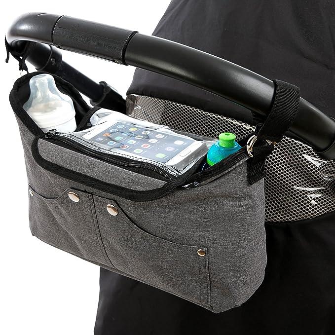Bolso organizador para cochecito o silla de paseo gris de BTR, con bolsillo exclusivo para el teléfono móvil con solapa. 2 ganchos para el cochecito ...
