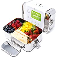 Ecozoi Extra Large Leak Proof Stainless Steel 1-Tier Eco Lunch Box Metal Bento Box   Redesigned Silicone Seal and Bonus…