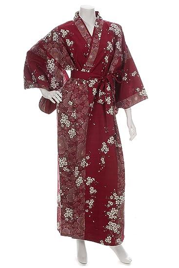 f95b82010 Cherry Blossom Print Long Red Yukata at Amazon Women's Clothing store: