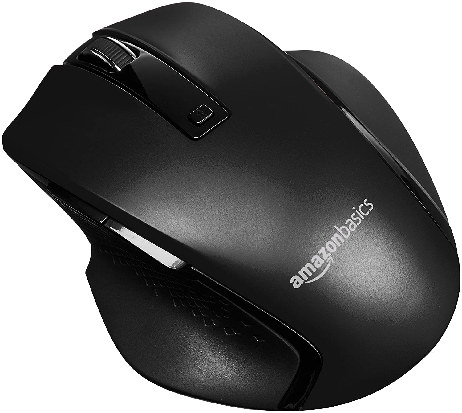 AmazonBasics Compact Ergonomic Wireless Mouse with Fast Scrolling - Black