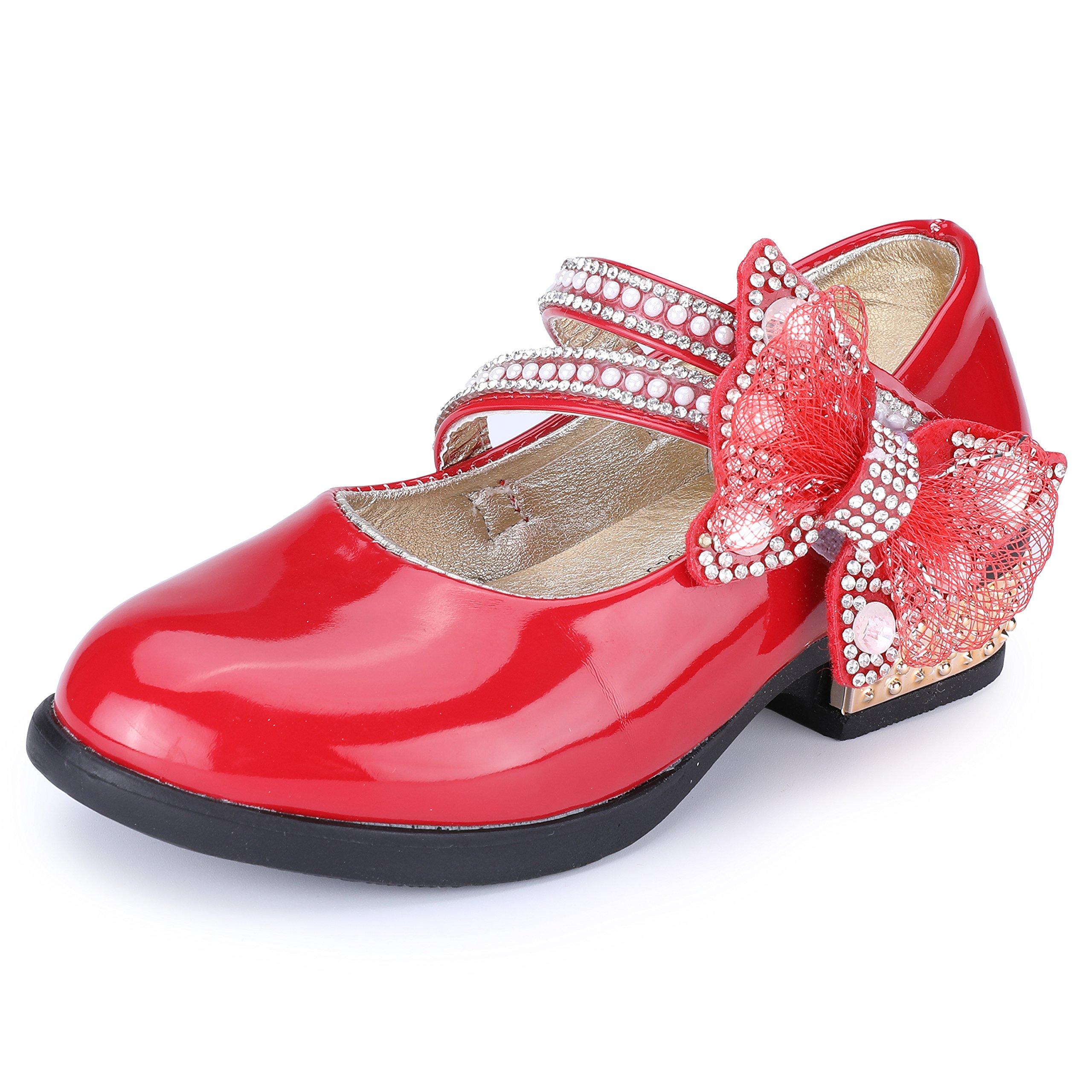 VECJUNIA Girls Rhinestones Bow Mary Janes Strap Flats Red 3 M US Little Kid