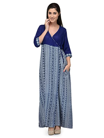 58e35b5ad3 Patrorna Women s Bodycon Wrap Maternity Nighty in Navy Print (Size S ...