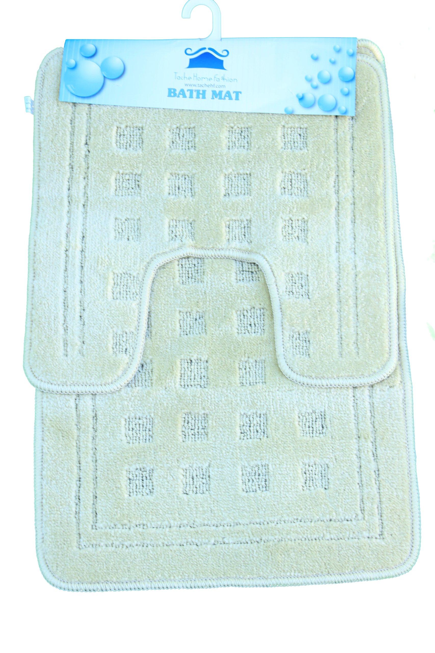 Tache 2 Piece Solid Beige Bathroom Rug with U Shaped Contoured Toilet Mat Set