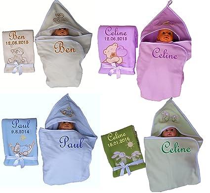 Juego de techo bebé + Toalla con capucha bordada con nombres regalo Baby Bautizo