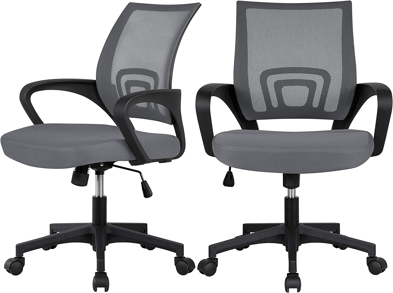 YAHEETECH 2 Pack Ergonomic Office Chair with 360° Rolling Casters, Mesh Mid-Back Computer Chair for Recreation Dark Gray