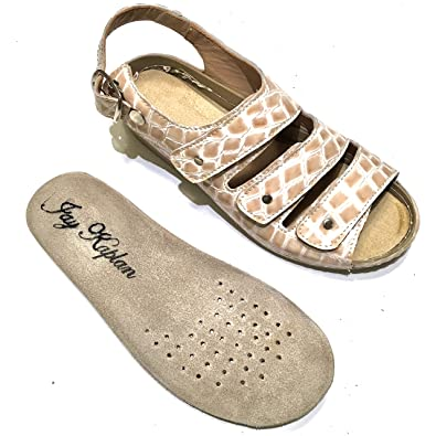 31a217ab3f JAY KAPLAN $250 Dollar Spanish Leather Comfort Sandals, Velcro Straps, Removable  Insoles, Couture