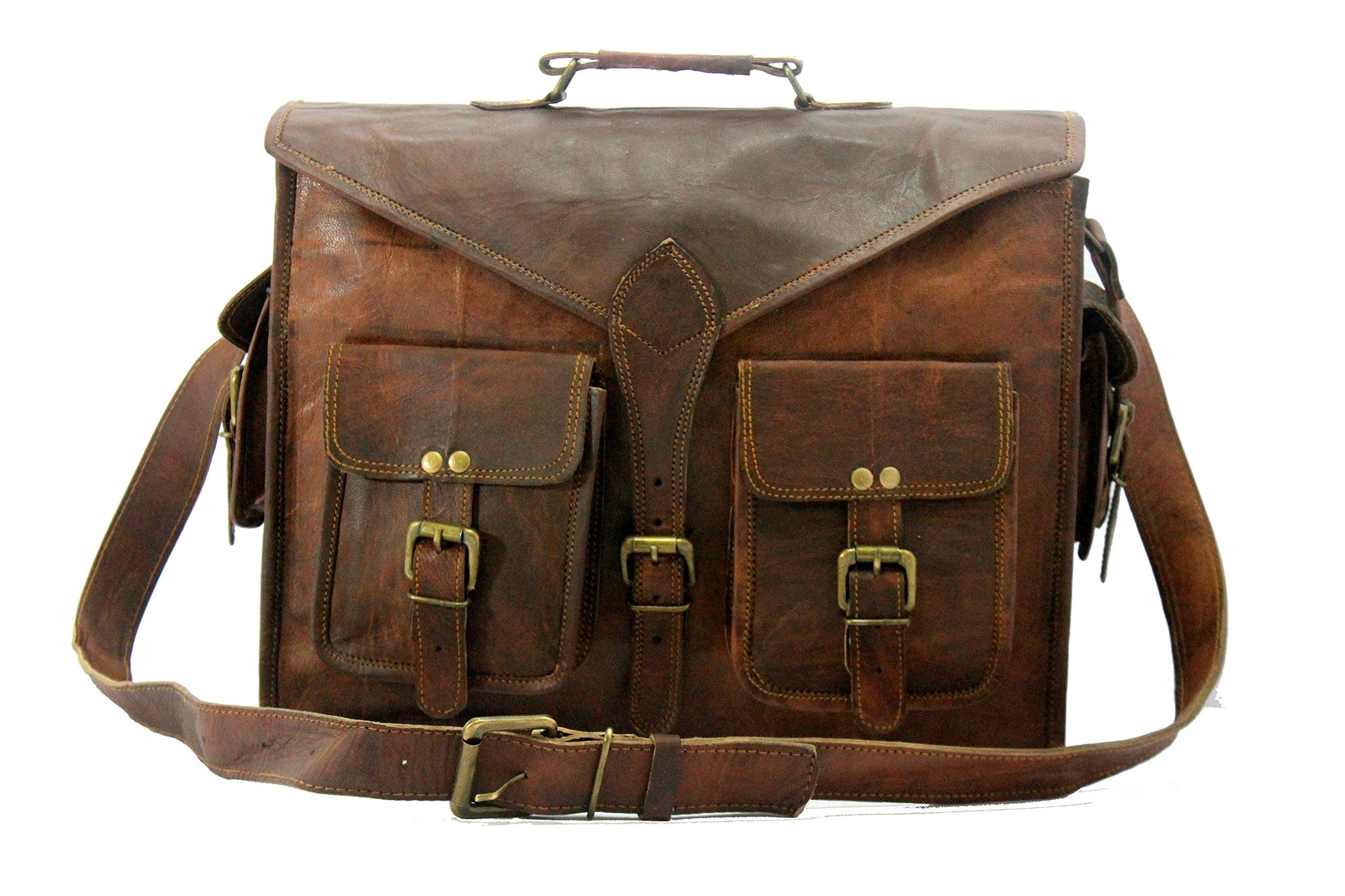 Handmade World Messenger Bag Leather Laptop Bags Computer Satchel Briefcase Unisex(15 Inch)
