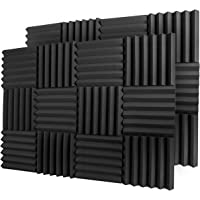 """A2S Protection 24 Pack Acoustic Foam Panels 2"""" X 12"""" X 12"""" Soundproofing Studio Foam Wedge Tiles Fireproof - Top Quality - Ideal for Home & Studio Sound Insulation - Density 25Kg/CMB (Black 2"""" 24pcs)"""