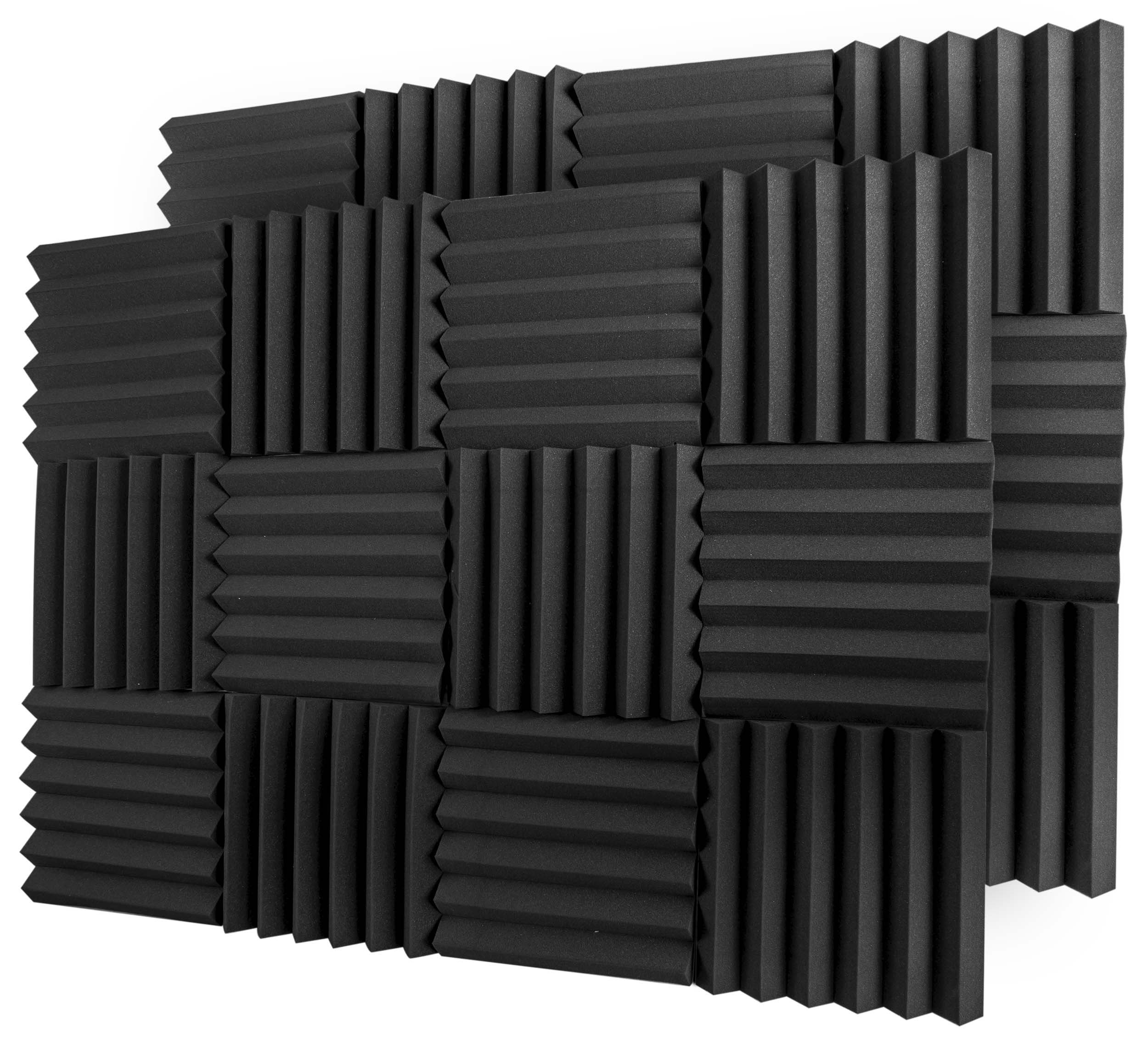 A2S Protection 24 Pack Acoustic Foam Panels 2'' X 12'' X 12'' Soundproofing Studio Foam Wedge Tiles Fireproof - Top Quality - Ideal for Home & Studio Sound Insulation - Density 25Kg/CMB (Black 2'' 24pcs) by A2S Protection
