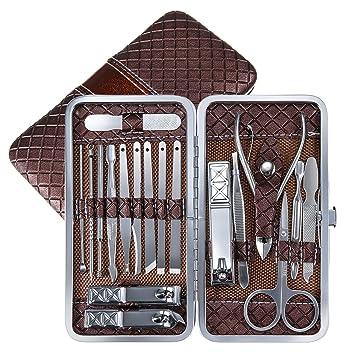 Amazon.com: Herramientas de manicura paquete, 18 en un kit ...