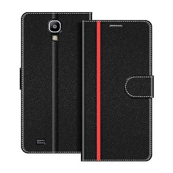 COODIO Funda Samsung Galaxy S4 con Tapa, Funda Movil Samsung S4, Funda Libro Galaxy S4 Carcasa Magnético Funda para Samsung Galaxy S4, Negro/Rojo