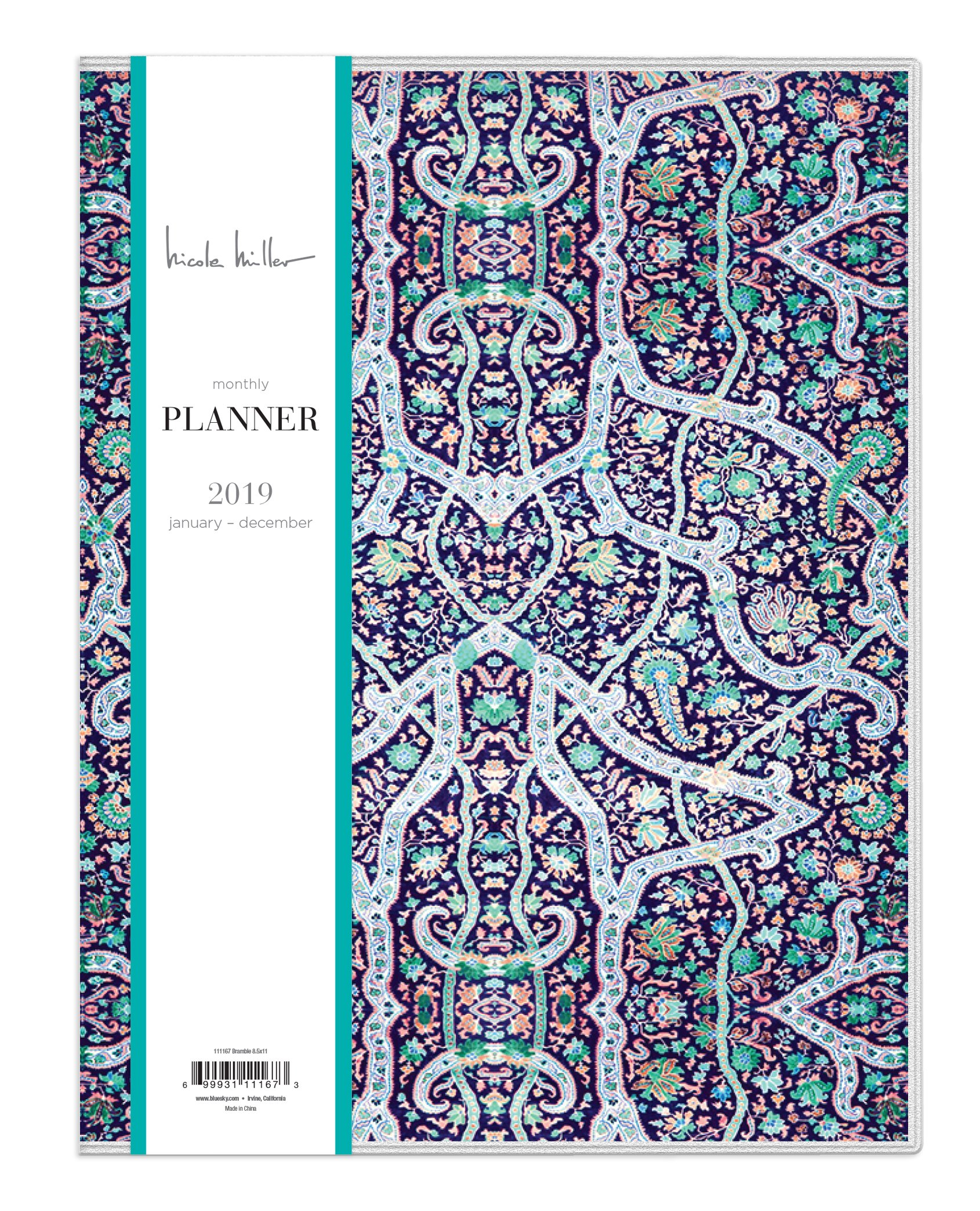 Nicole Miller for Blue Sky 2019 Monthly Planner, Flexible Cover, 8.5'' x 11'', Bramble