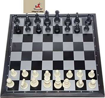 Vibgyor Vibes Folding Magnetic Chess Board Black and White 9.5 inch