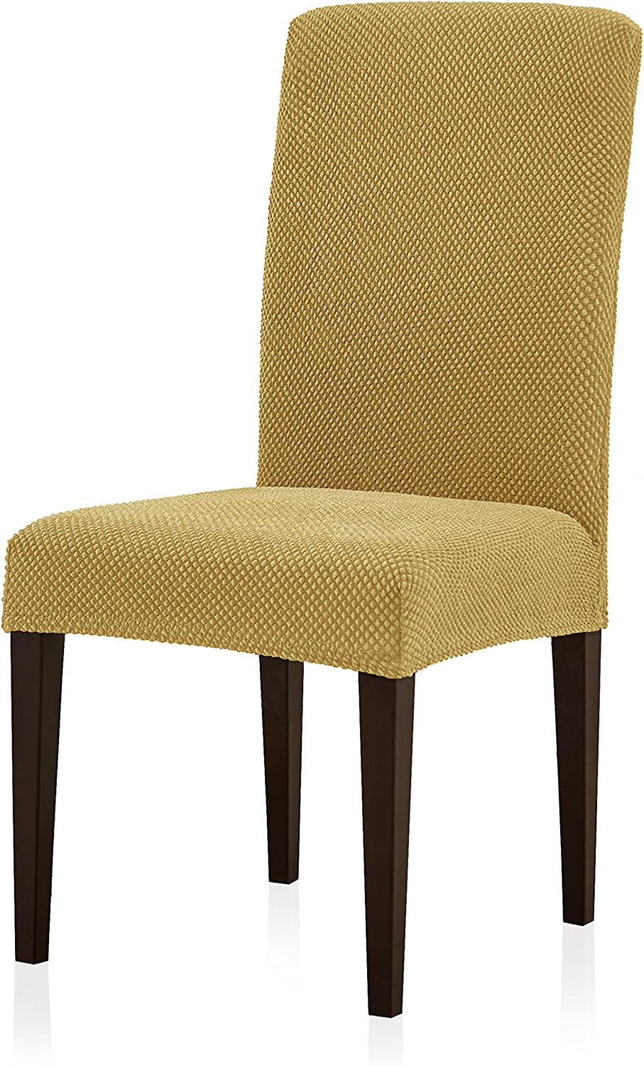 Subrtex Jacquard Dining Room Chair Slipcovers Sets Stretch Furniture Protector Covers for Armchair Removable Washable Elastic Parsons Seat Case for Restaurant Hotel Ceremony (2, Beige)