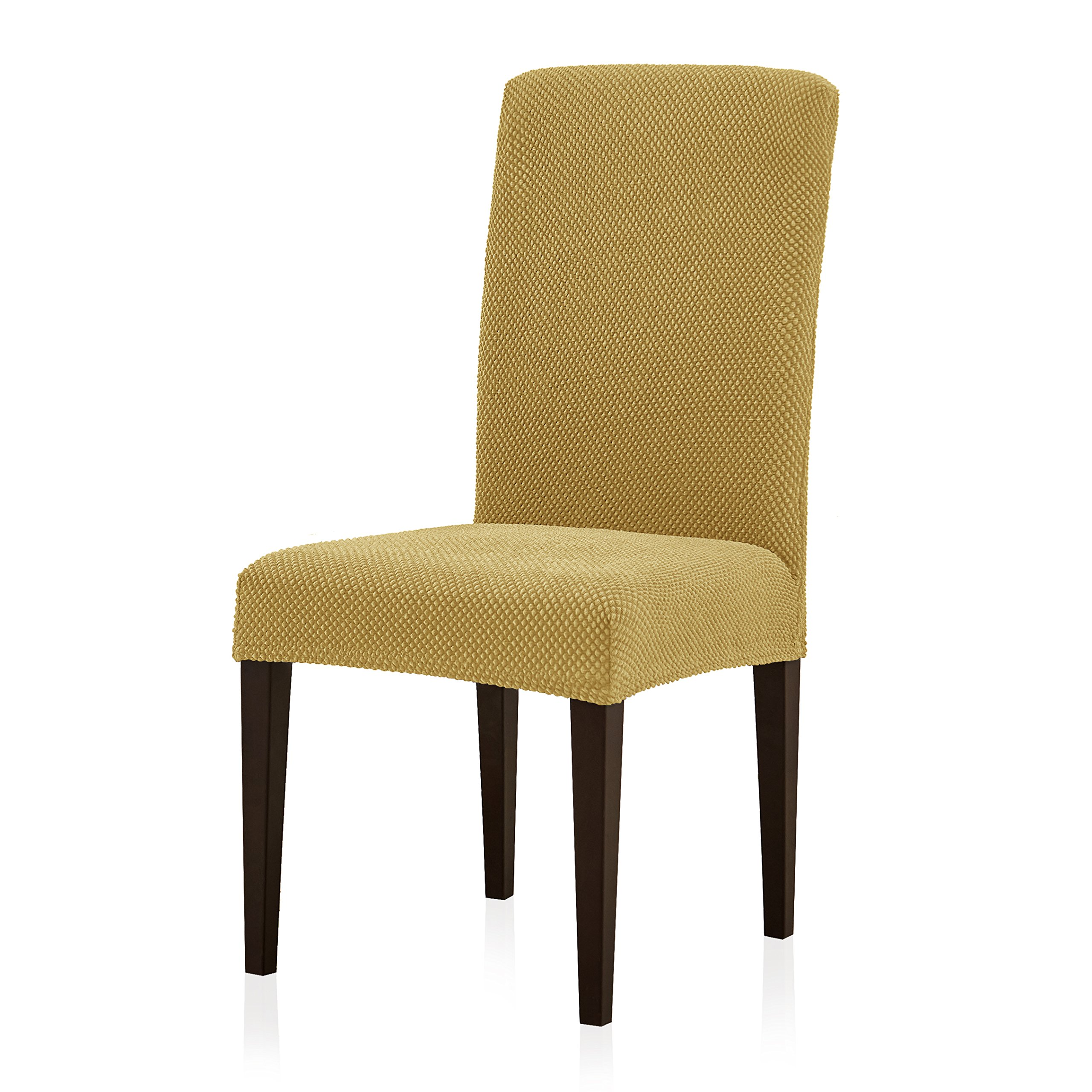 Subrtex Stretch Dining Room Chair Slipcovers (4, Beige Jacquard)