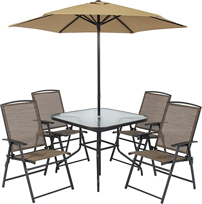 Amazon Com Best Choice Products 6 Piece Outdoor Folding Steel Fabric Patio Dining Set W Table 4 Chairs Umbrella And Built In Base Tan Garden Outdoor
