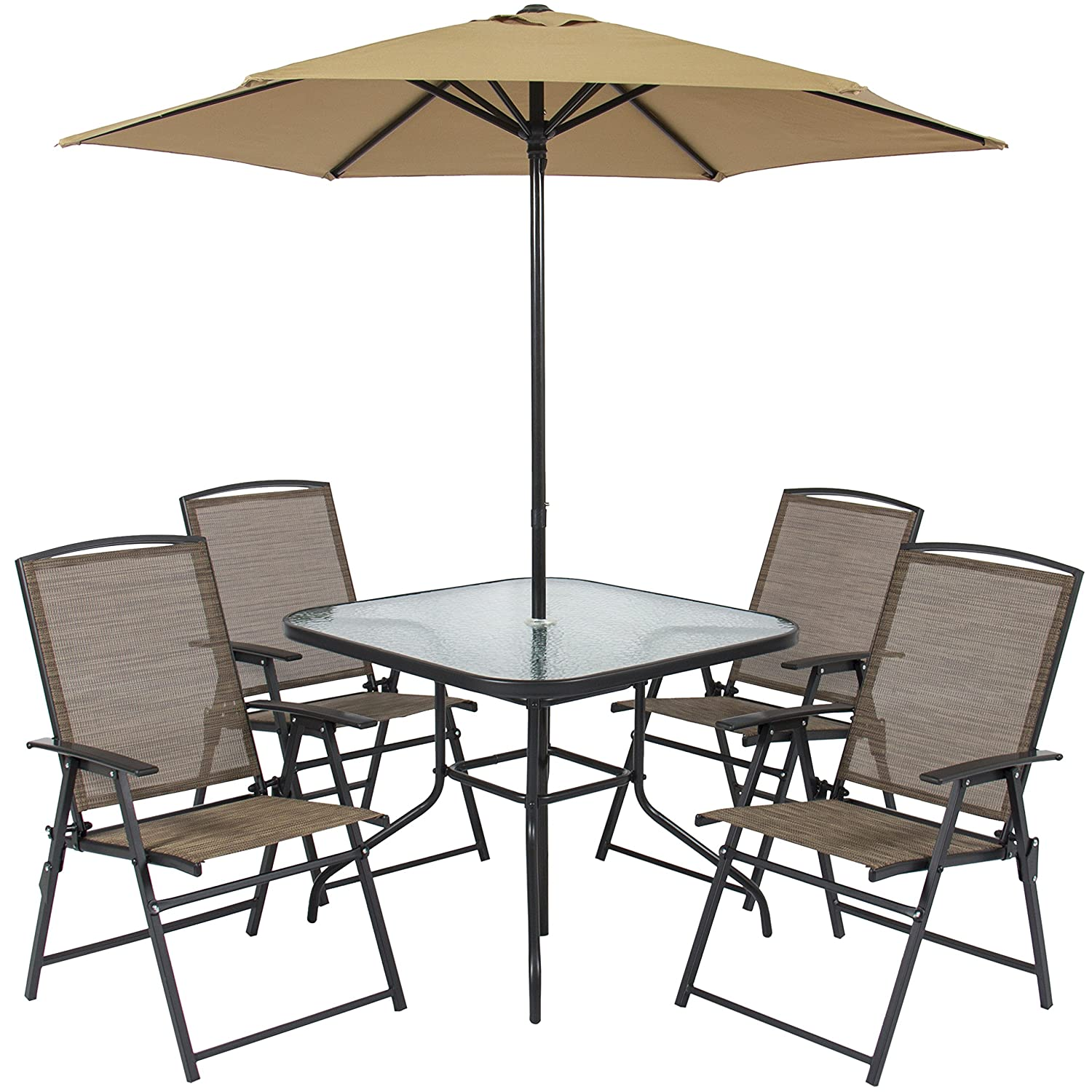 amazoncom best choice products 6pc outdoor folding patio dining set w table 4 chairs umbrella and built in base garden outdoor - Garden Furniture 6 Seats