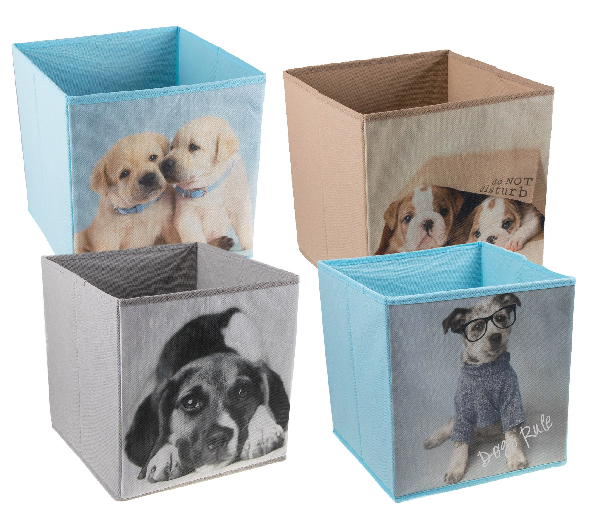 4 Pack Cute Dogs Collapsible Storage Organizer by Clever Creations | Cube Folding Storage Organizer for Animal Themed Rooms | Perfect Size Storage Cube for Books, Shoes, Games