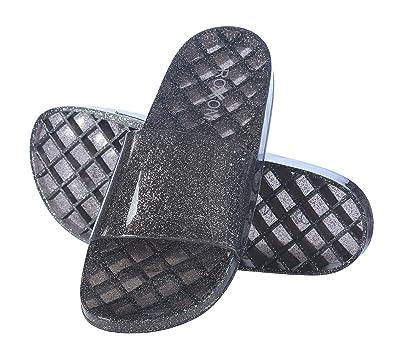 Roxoni Women s Slide Sandals Summer Flip Flop Open Toe Jelly Glitter  Slippers 2c91cefbf