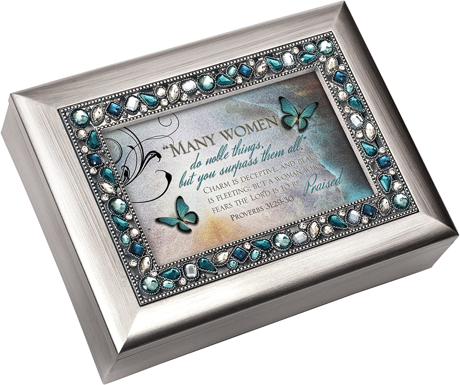 """Many Women do Noble Things Proverbs 31:29 Jeweled 4/""""x6/"""" Picture Frame"""