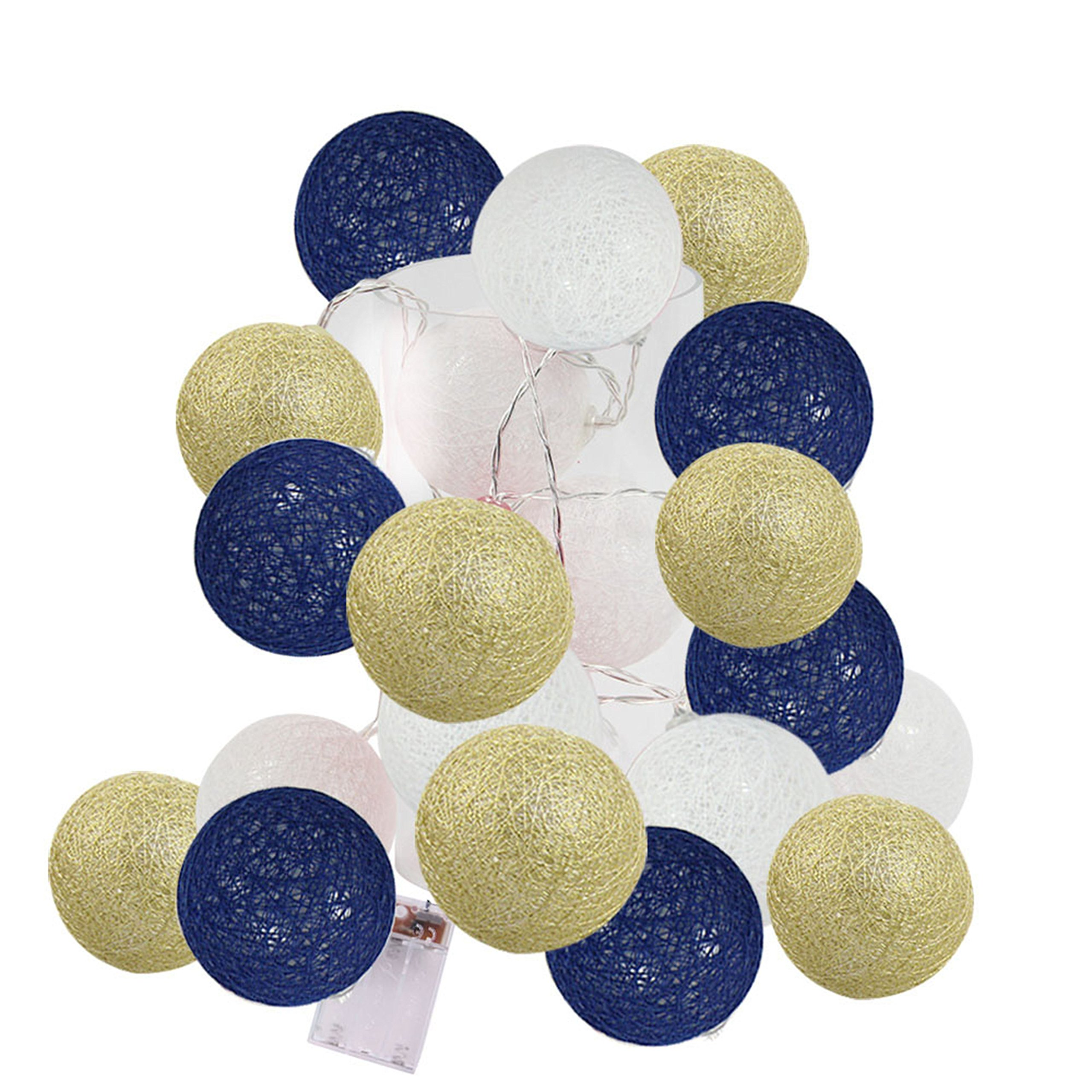 2.5m 20 LED White Gold Navy Blue Cotton Balls String Lights Battery Operated Christmas LED Garland Party Decorative Lamp for Girl Bedroom Wedding Decoration Holiday Party Kids Room Decoration Lights