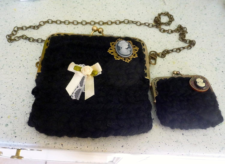 ensemble pochette et porte monnaie camée rétro victorien Marie Antoinette