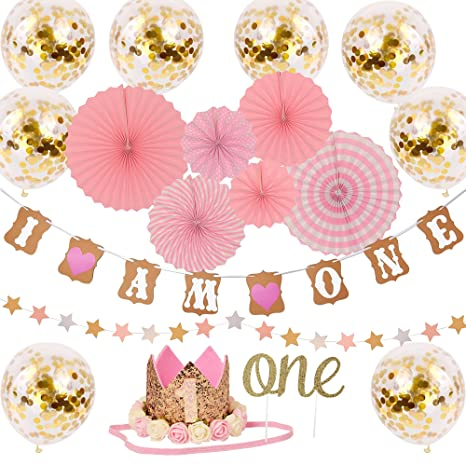 One Year Birthday Decorations Kit For Princess Baby Girl