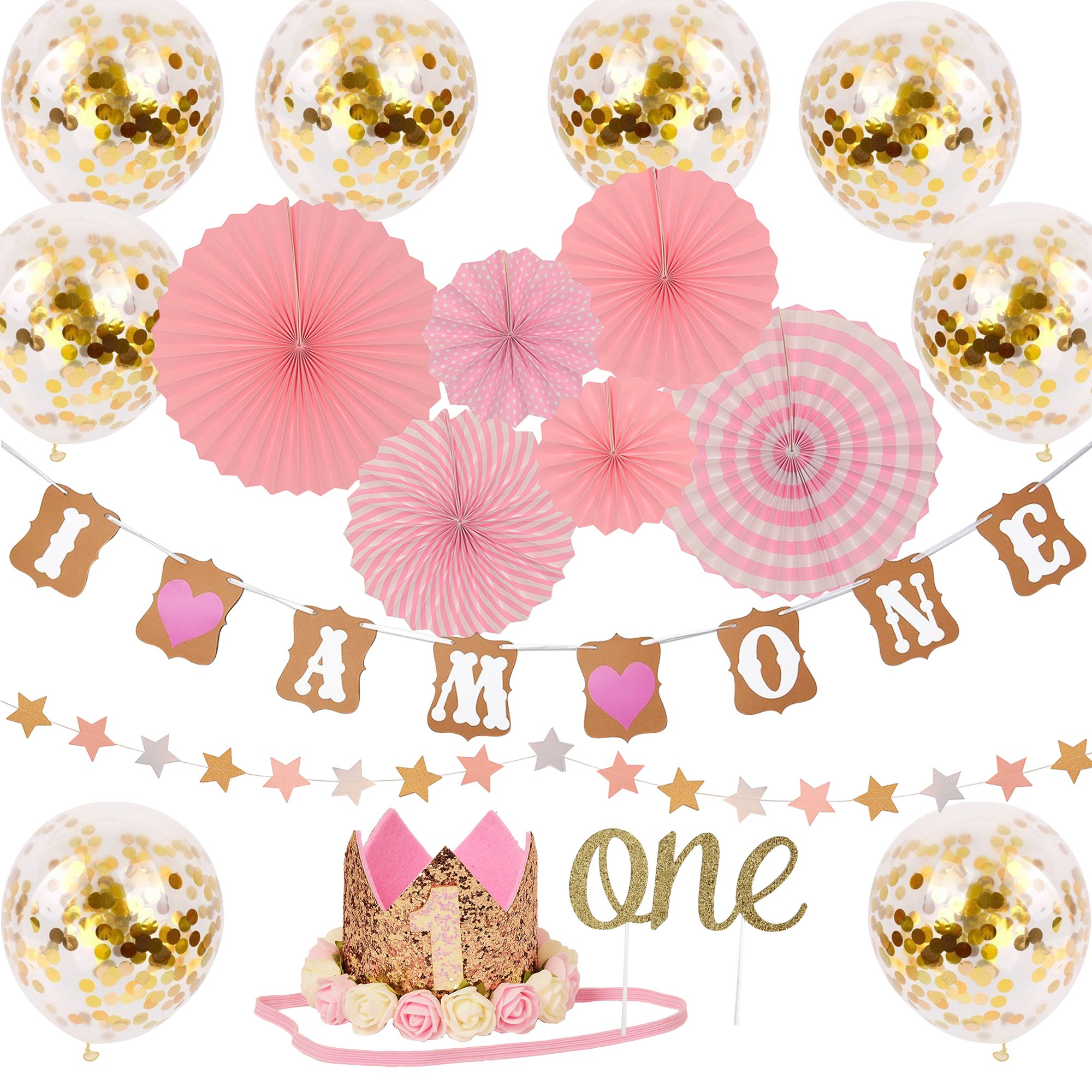 One Year Birthday Decorations Kit For Princess Baby Girl - 'I AM ONE' Banner | Golden Crown Hat | 'ONE' Cake Topper | Pink Hanging Paper Fan | Pink Paper Garland | 8 Ballon - 18 pcs Bundle