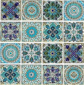 Leyu Mandala Decorative Tile Stickers Set 16 Units 6x6 Inch Peel and Stick Self Adhesive Removable Moroccan Tiles Backsplash Waterproof Kitchen Bathroom Furniture Staircase Home Decor